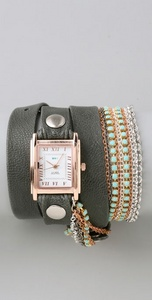 Часы La Mer Collections Turquoise Crystal Chain Wrap Watch