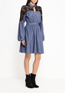 Платье GEORGIA DENIM DRESS WITH LACE SLEEVE