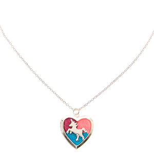 Glitter Unicorn Heart Locket Silver-tone Necklace