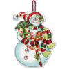 Snowman with Sweets Counted Cross Stitch Ornament