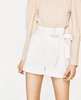 White Bermuda Shorts with Bow