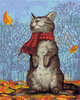 Картина по номерам Артвентура «Кот в шарфе»