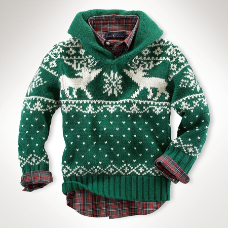 Reindeer Shawl Sweater - Boys