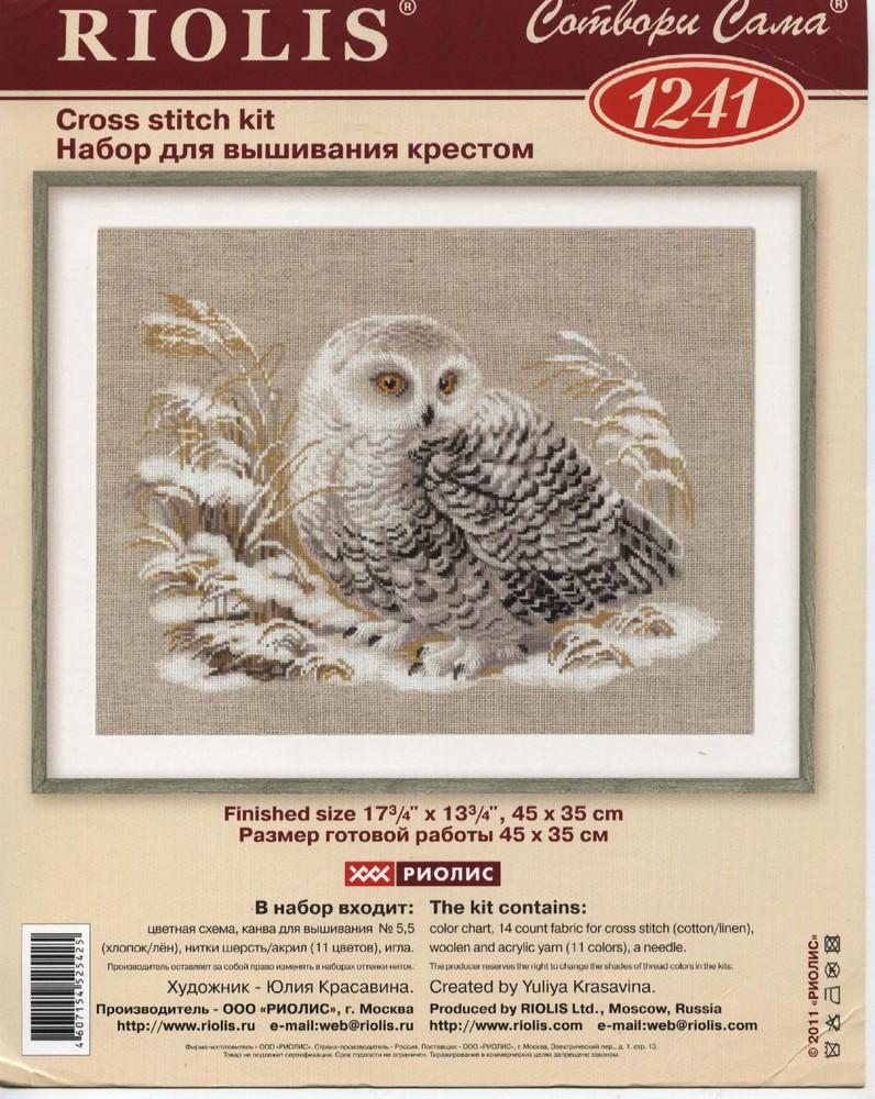 Вышивка белая сова от риолис