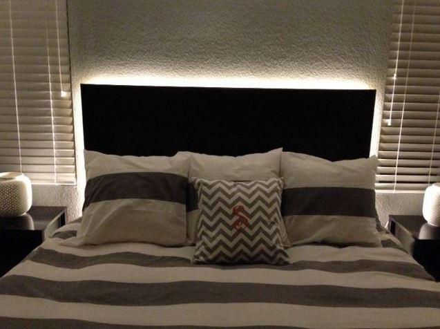 фото подсветка в спальне
