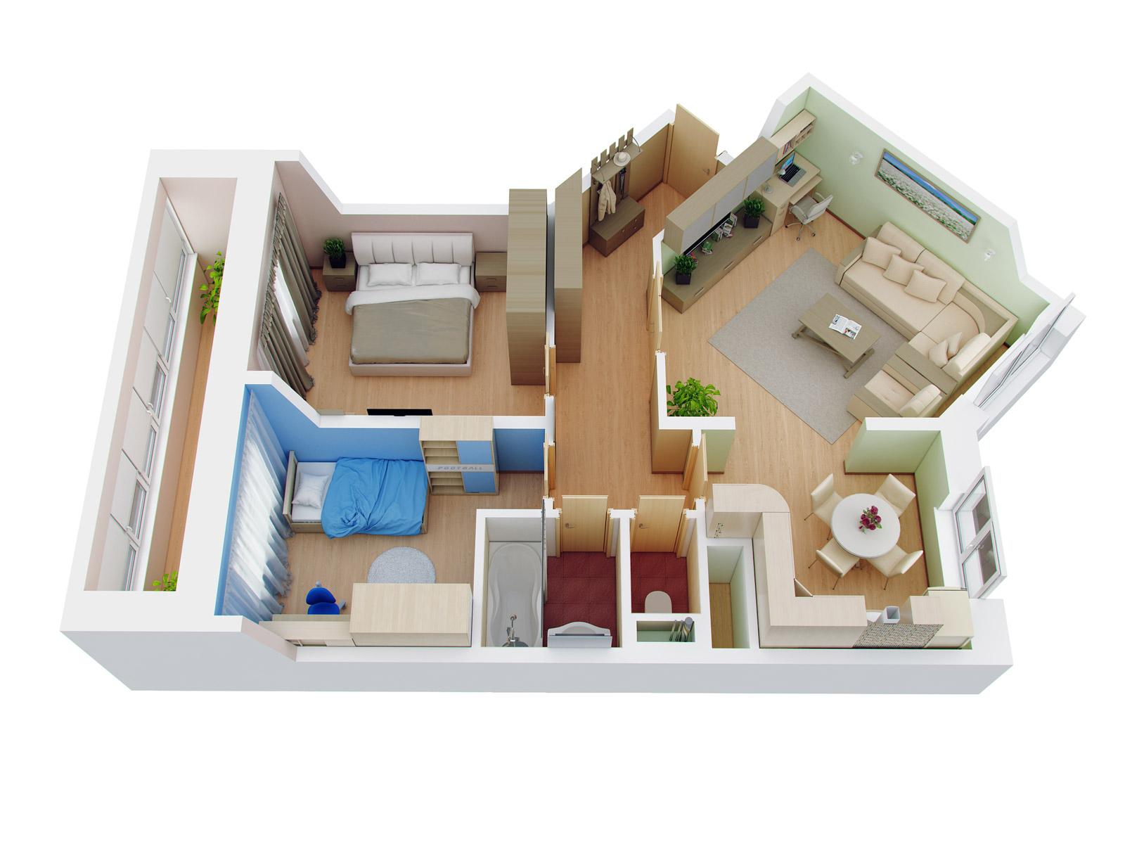 Дизайн однокомнатной квартиры 46 кв.м от орелстроя