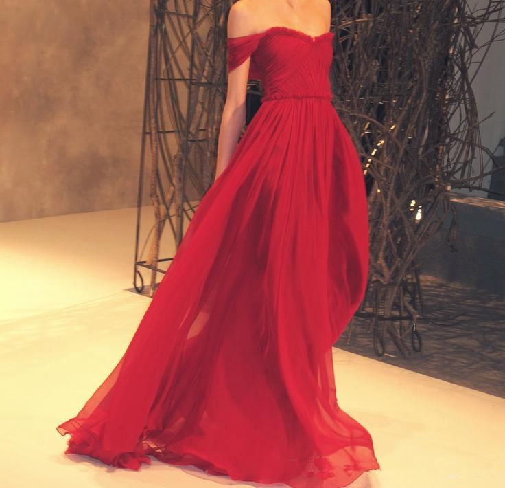 Шифоновое красное платье